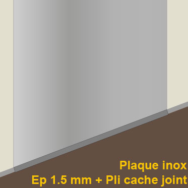 Plaque de protection inox 80 cm 800 mm plaque de sol for Plaque inox mur